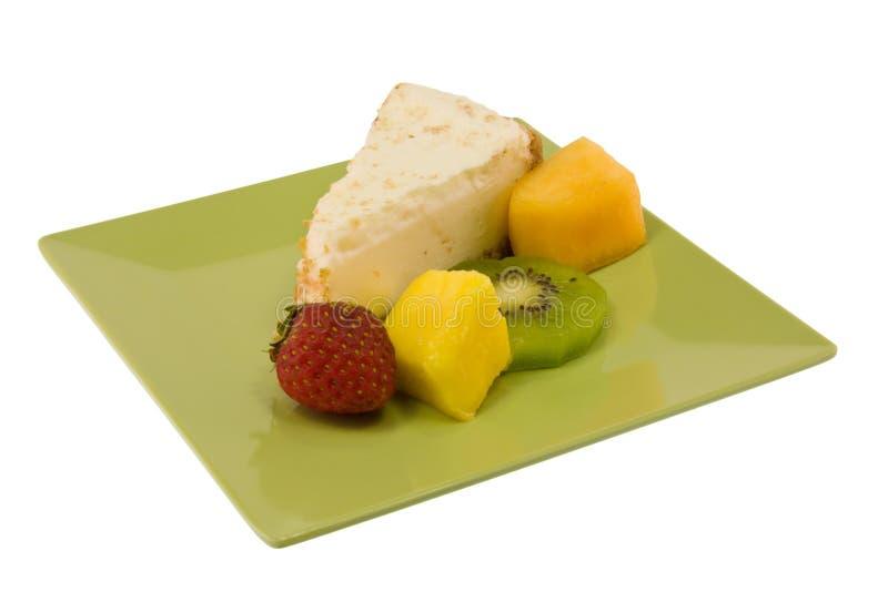 Einfacher Käsekuchen mit frischer Frucht stockbilder