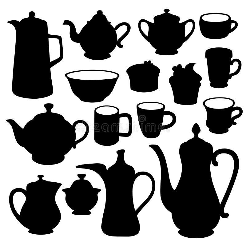 Einfacher Kaffeeteetonwaren-Schattenbildsatz stock abbildung