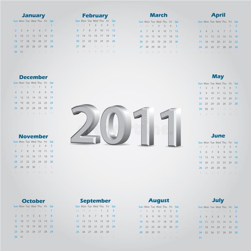 Einfacher Kalender 2011 mit metallischem Text 3d vektor abbildung