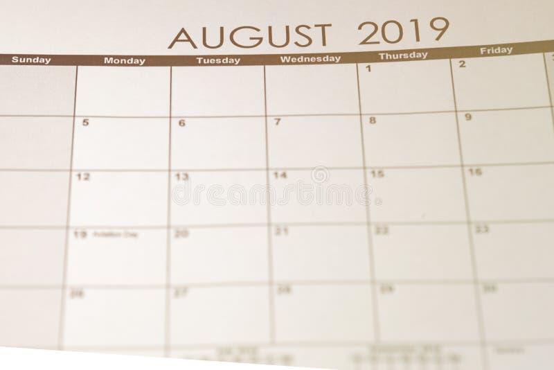Einfacher Kalender im August 2019 lizenzfreie stockfotografie
