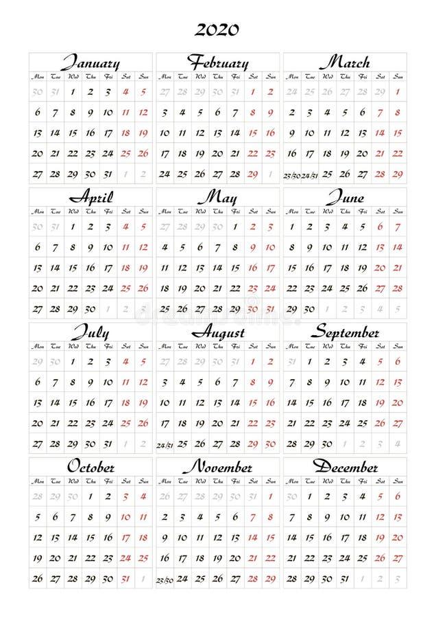 Einfacher Kalender 2020 mit einem schönen Guss Schablonenplan lizenzfreie abbildung