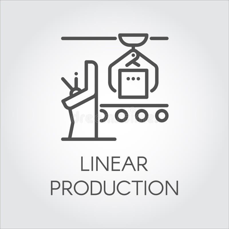 Einfacher Konturnaufkleber des linearen Produktionskonzeptes Zeichnen Sie Ikone oder infographic Element für unterschiedlichen De lizenzfreie abbildung