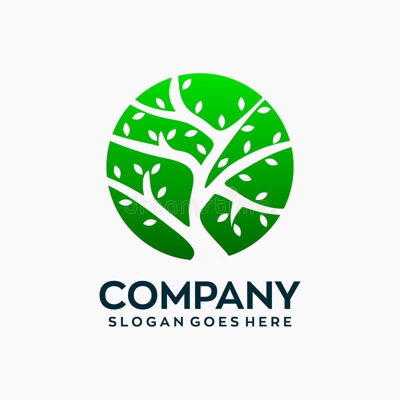 Einfacher Kreis-Baum Logo Design Template lizenzfreie abbildung