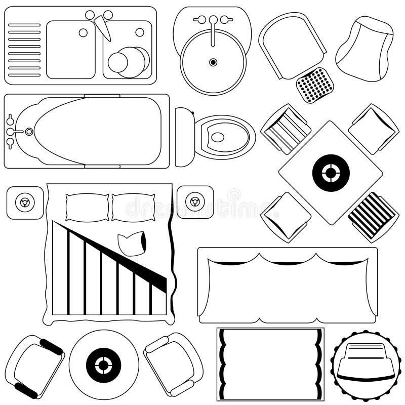 Einfacher Möbel-/Fußboden-Plan (umreiß) lizenzfreie abbildung