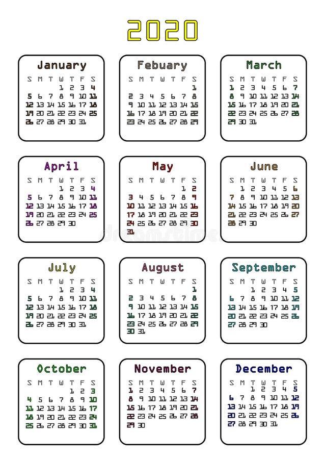 Einfacher minimalistic Kalender 2020 mehrfarbig Schablonenplan lizenzfreie stockfotografie