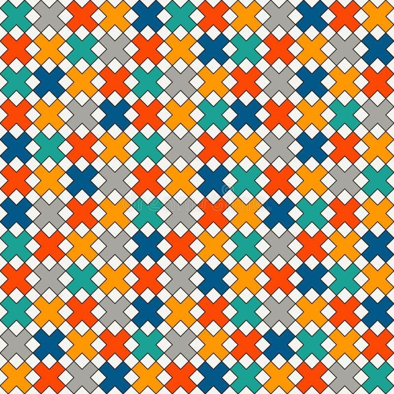 Einfacher moderner Druck mit Kreuzen Unbedeutendes nahtloses Oberflächenmuster Abstrakter Hintergrund mit geometrischer Verzierun lizenzfreie abbildung