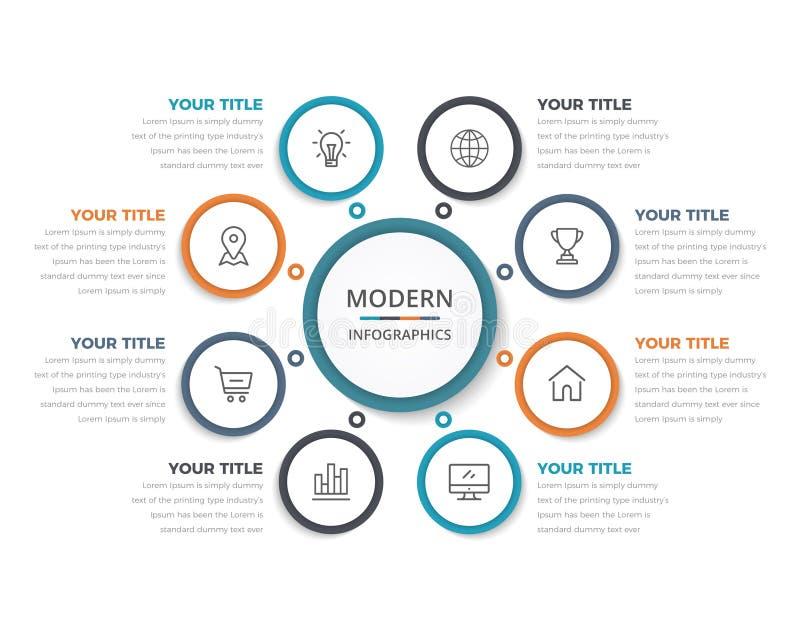 Einfacher moderner Wirtschaftskreis Infographics mit 08 Schritten vektor abbildung