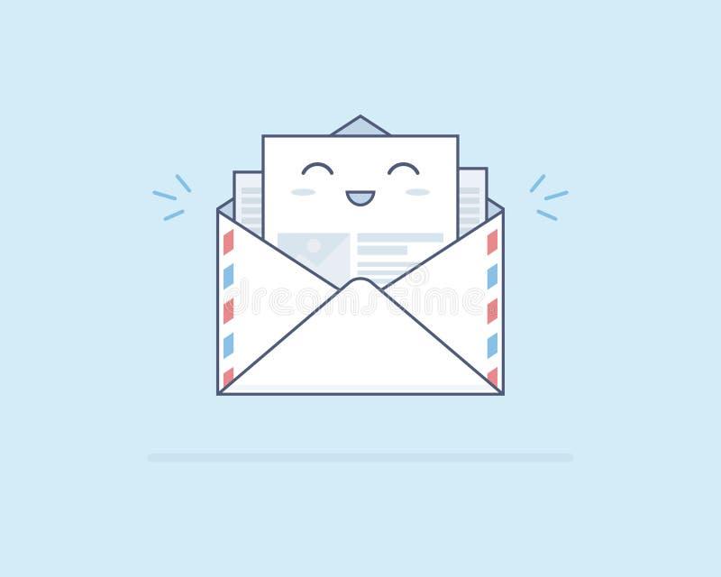 Einfacher netter lächelnder Beitragsbuchstabe auf hellblauem lizenzfreies stockfoto