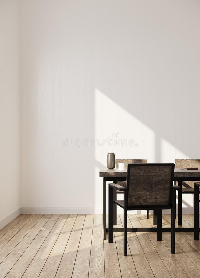 Einfacher Raum mit Wiedergabe der Dachbodenmöbel 3d lizenzfreies stockfoto