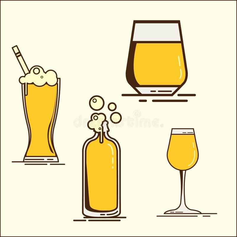 Einfacher Satz Bierglasikonen von oktoberfest Oktoberfest-Sammlung Satz Ikonen des flachen Bieres mit Schaum Bierflasche, glas lizenzfreie abbildung