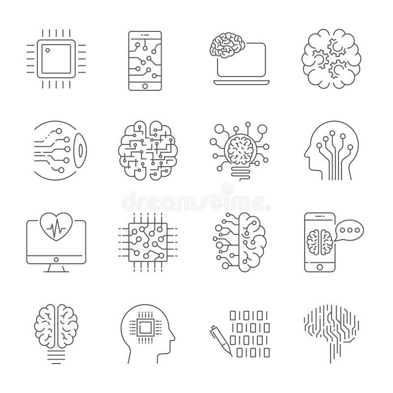 Einfacher Satz der bezogenen Linie Ikonen der künstlichen Intelligenz enthält solche Ikonen wie droid, Auge, Chip, Gehirn und and stock abbildung