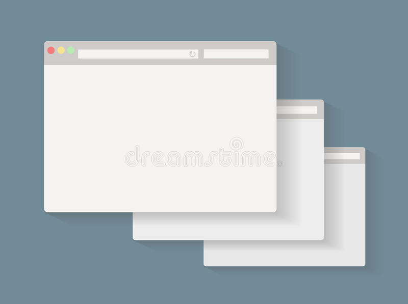 Einfacher Satz der Browser Windows lizenzfreie abbildung