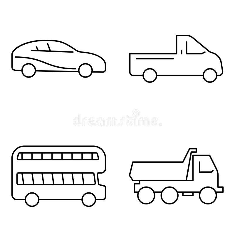 Einfacher Satz der dünnen Linie Ikonen des Vektors der öffentlichen Transportmittel Autoselbst-LKW-Busjeep stock abbildung