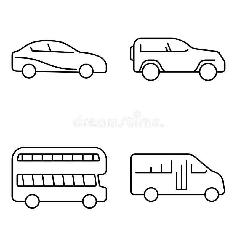 Einfacher Satz der d?nnen Linie Ikonen des Vektors der ?ffentlichen Transportmittel Autoselbst-LKW-Busjeep stock abbildung