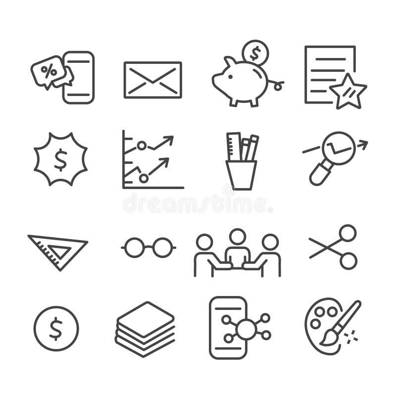 Einfacher Satz der Finanz-, vermarktenden minimalen Ikone lokalisiert Moderner Entwurf auf wei?em Hintergrund stock abbildung