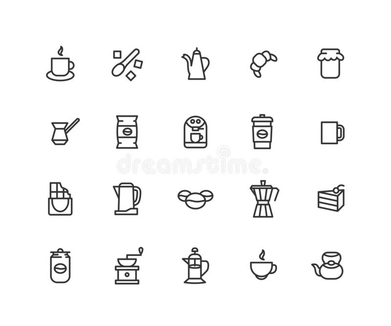 Einfacher Satz der Kaffee-Vektor-Linie Ikonen Enthält solche Ikonen wie Kaffeetasche, Hörnchen, Teekanne, Kuchen, Schokolade und  stock abbildung