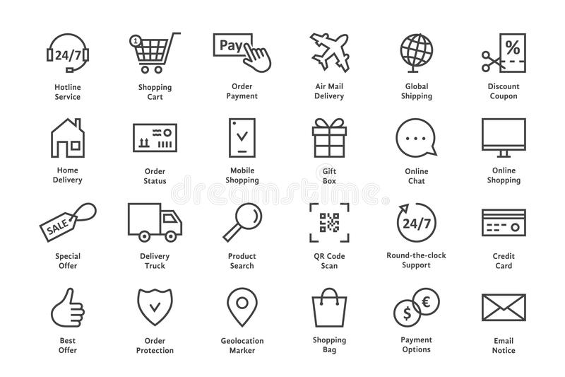 Einfacher Satz der schwarzen dünnen Linie Ikone des elektronischen Geschäftsverkehrs lizenzfreie abbildung