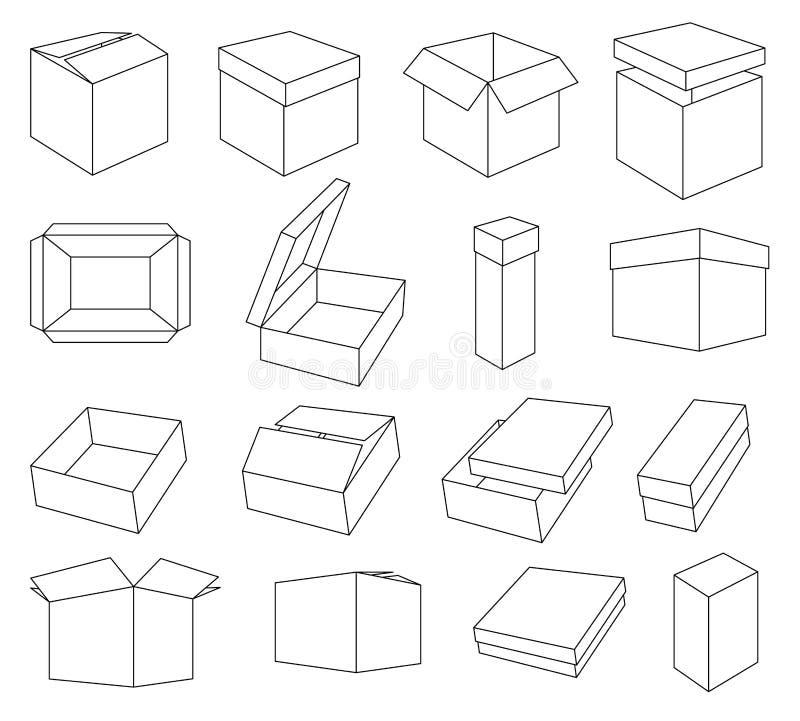 Einfacher Satz Kasten und Kisten bezog sich Vektorikonen für Ihr Design Färbende isometrische Kästen stock abbildung
