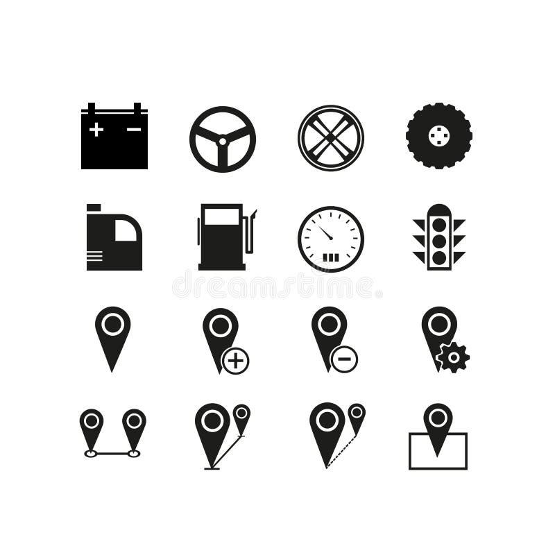 Einfacher Satz von genehmigen in Verbindung stehende Vektor-Linie Ikonen Enthält solche Ikonen wie Straße, Antrieb, Karte, Platz  lizenzfreie abbildung