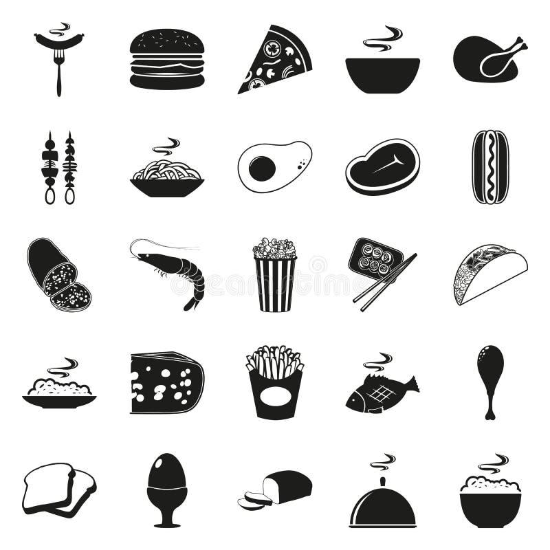 Einfacher schwarzer Art Lebensmittel-Ikonen-Satz lizenzfreies stockfoto