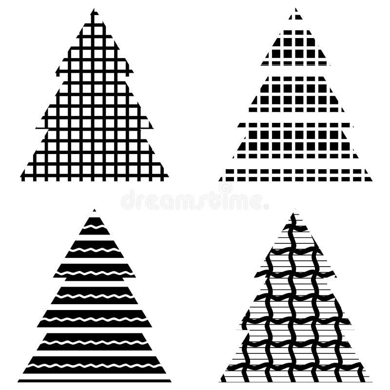 Schwarzer Weihnachtsbaum.Einfacher Schwarzer Weihnachtsbaum Ikonen Satz Vektor