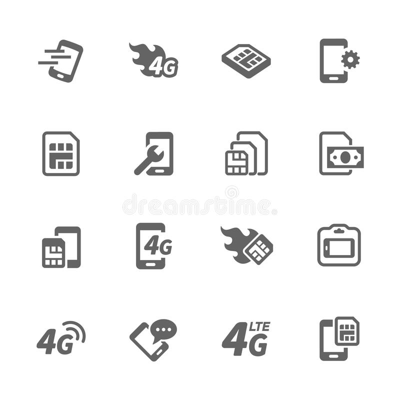 Einfacher Sim Card Icons lizenzfreie abbildung