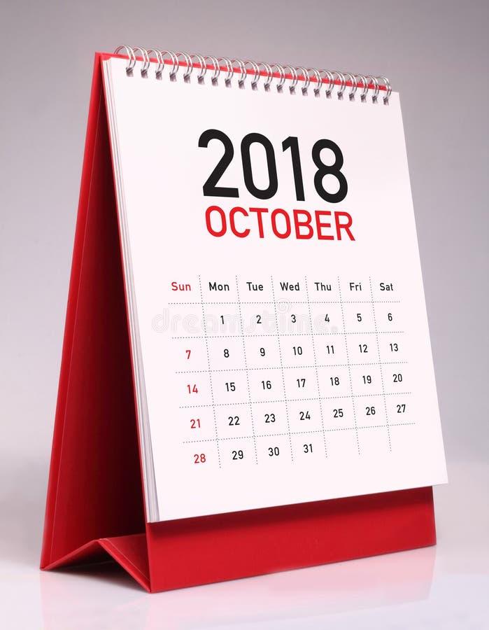 Einfacher Tischkalender 2018 - Oktober lizenzfreies stockfoto