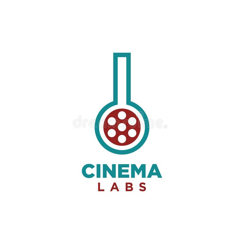 Einfacher Vektor des Kinolaborlogo-Entwurfs lizenzfreie abbildung