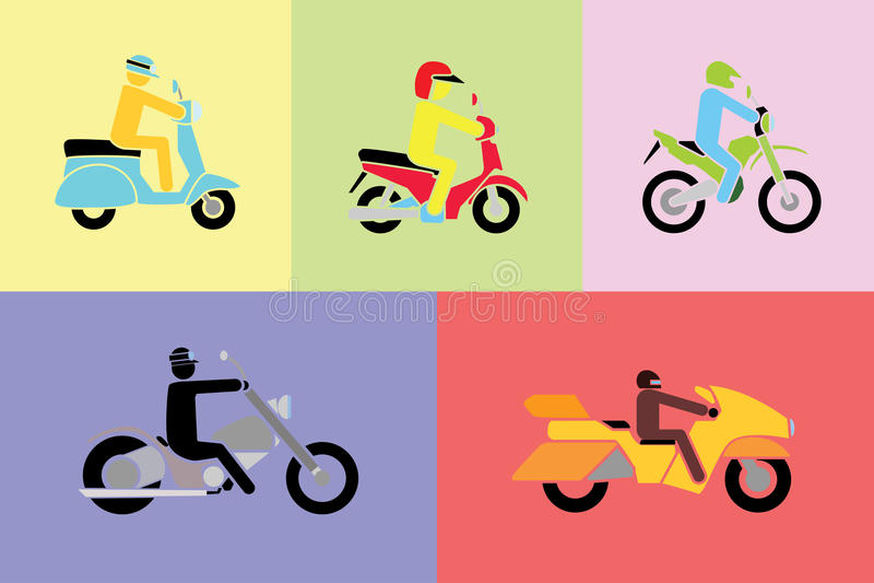 Einfacher Vektor des Mannes verschiedene Art von Motorrädern reiten stock abbildung
