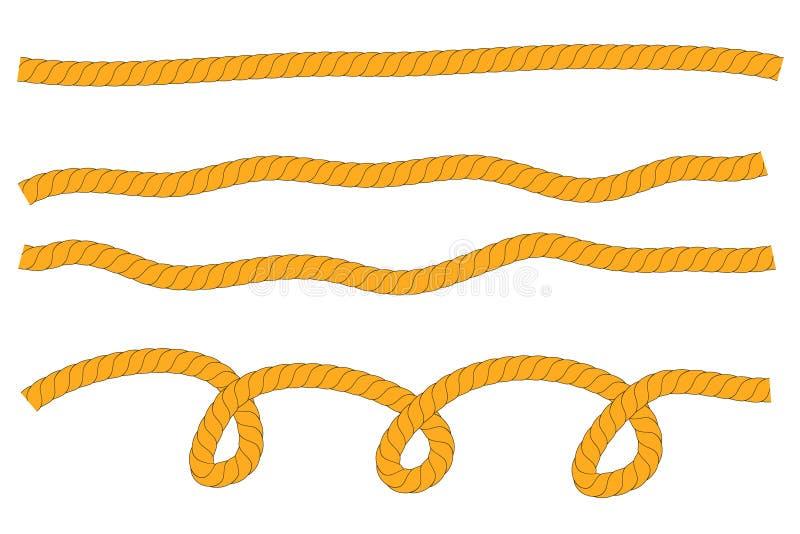 Einfacher Vektor, horizontales Wellen-Seil Browns, für Ihren Element-Entwurf stock abbildung