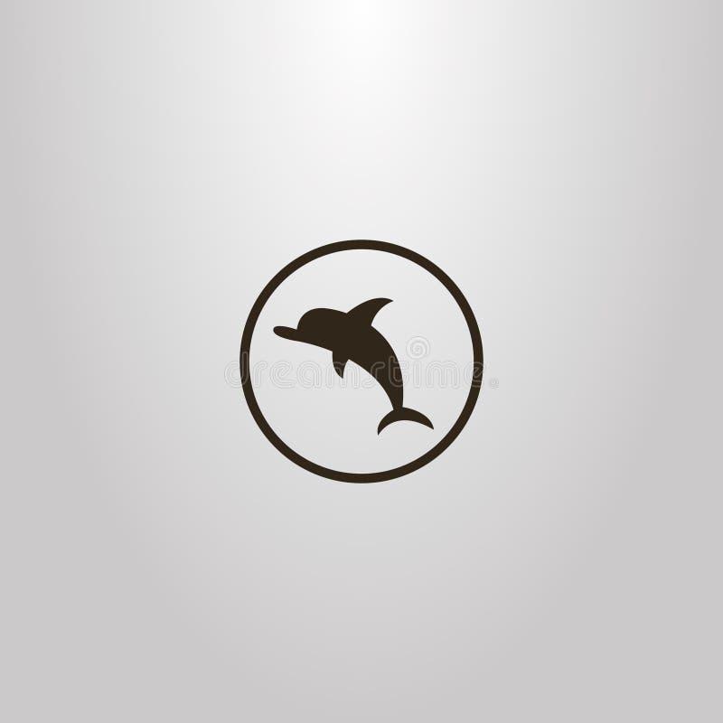 Einfacher Vektor lokalisierte Zeichen des flachen Kunstdelphins in einem runden Rahmen lizenzfreie abbildung