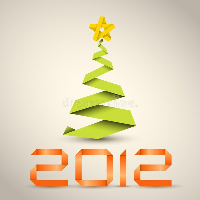 Einfacher Weihnachtsbaum vom Papierstreifen stock abbildung