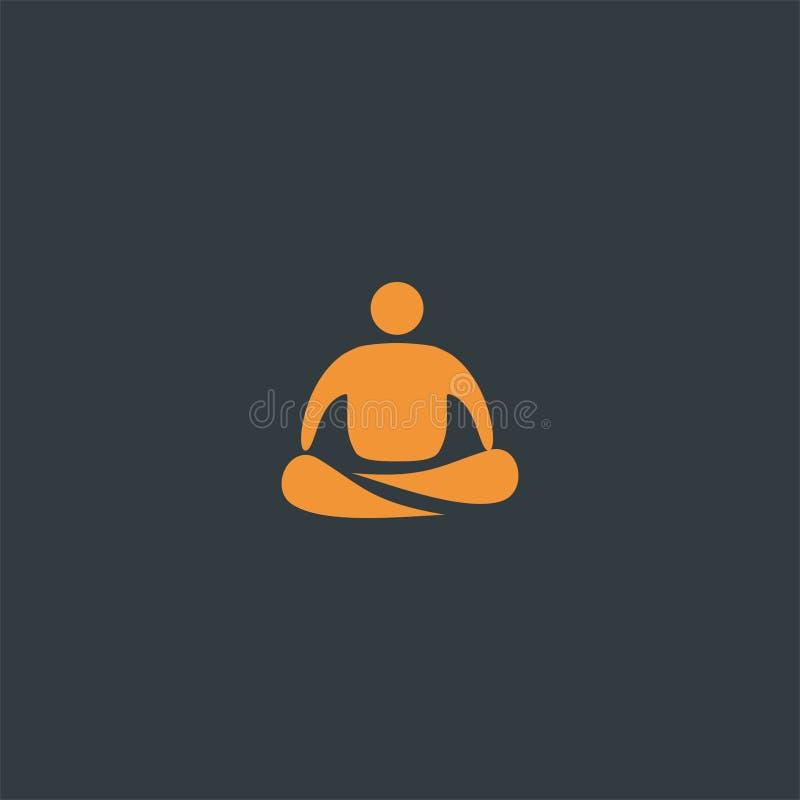 Einfacher Yogalogoentwurf Symboldan-Ikonenvektorschablone vektor abbildung
