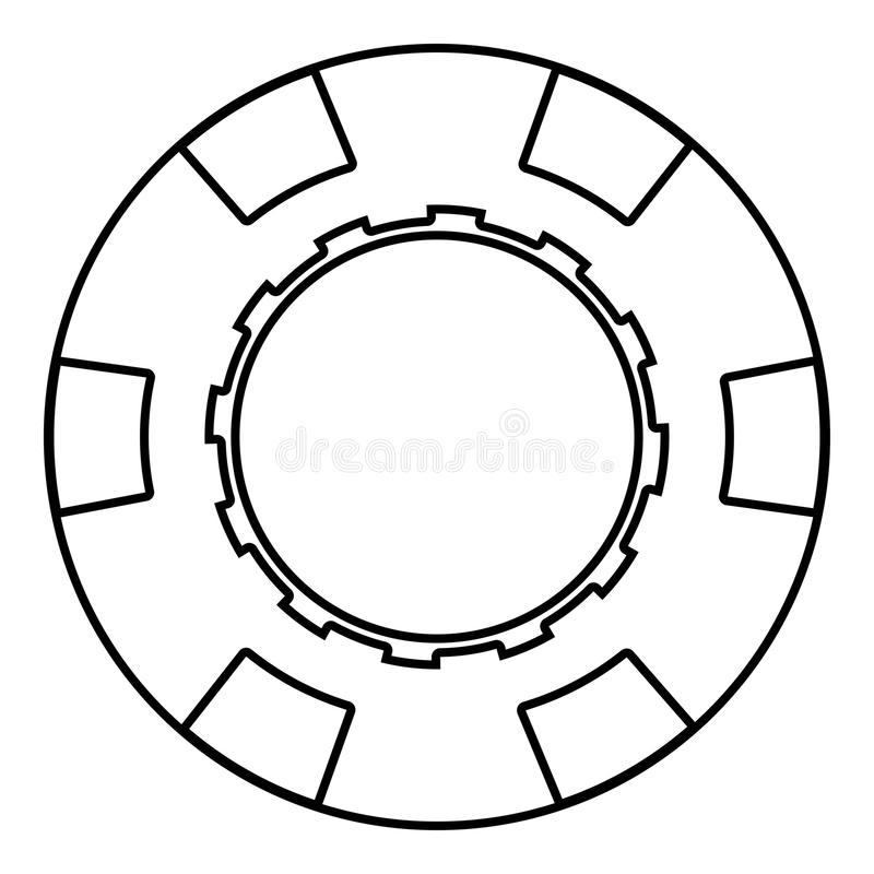 Einfaches Bild der flachen Art der Kasinochipikonenschwarz-Farbillustration stock abbildung