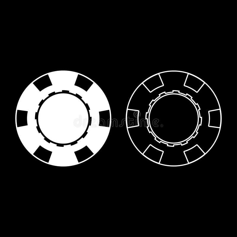 Einfaches Bild der gesetzten weißen Farbart der Illustration der Kasinochipikone flachen vektor abbildung