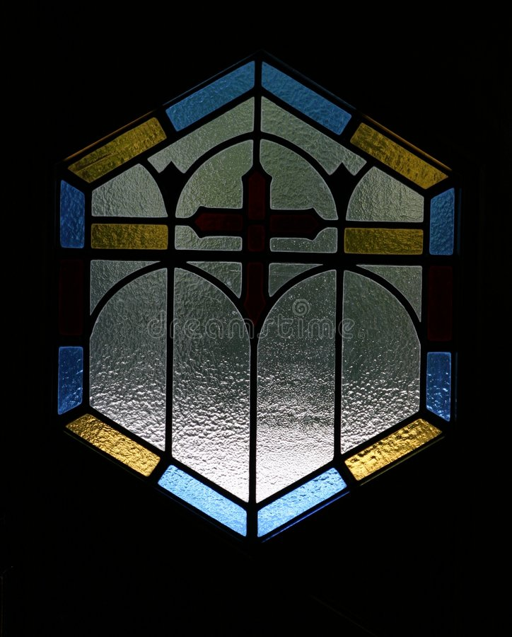 Einfaches Buntglasfenster stockfoto