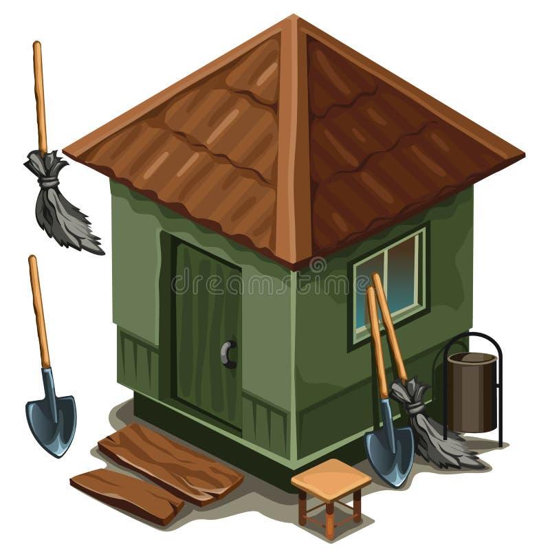 Einfaches Dorfhaus, -besen und -schaufel lizenzfreie abbildung