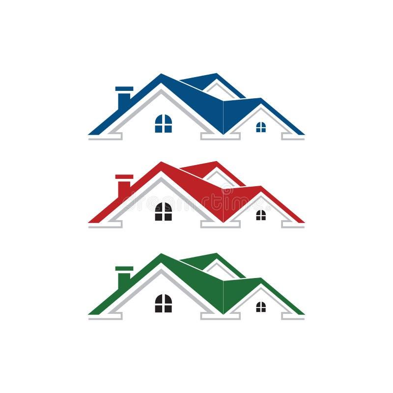Einfaches einzigartiges des grafischen Hauses des Immobilienlogos blaue rote grüne Farbe vektor abbildung