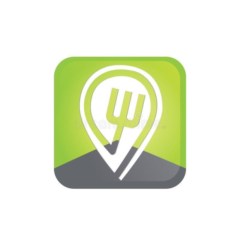 Einfaches elegantes modernes flaches Logo des Lebensmittel-Punktes stockfotografie