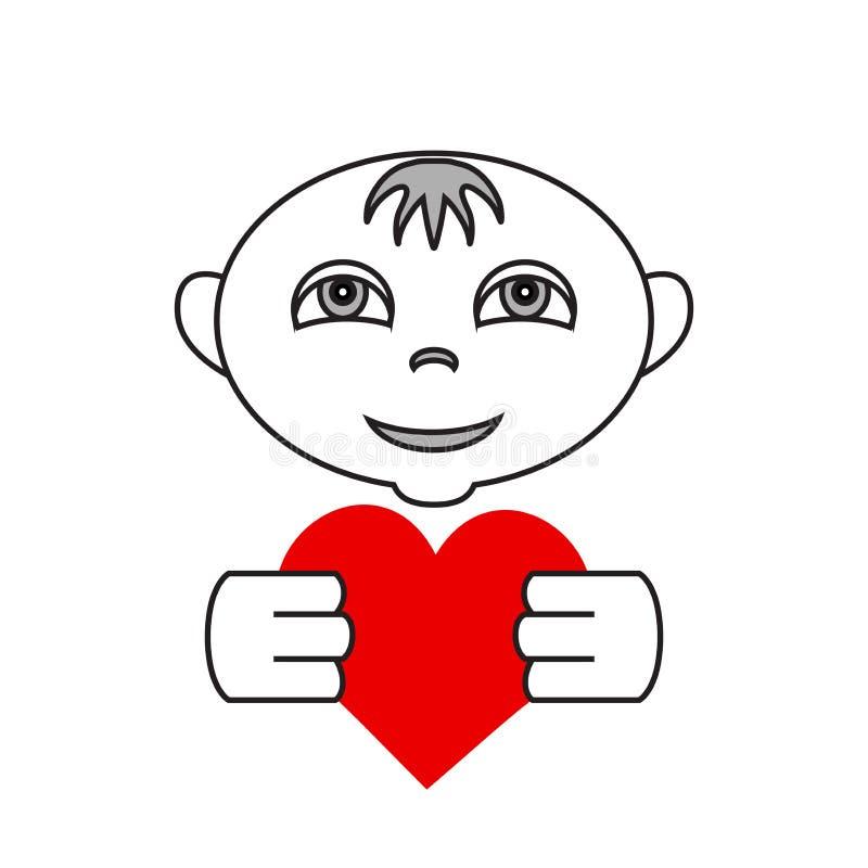 Einfaches flaches Logo des Vektors Kindermit Herzen in den Händen vektor abbildung