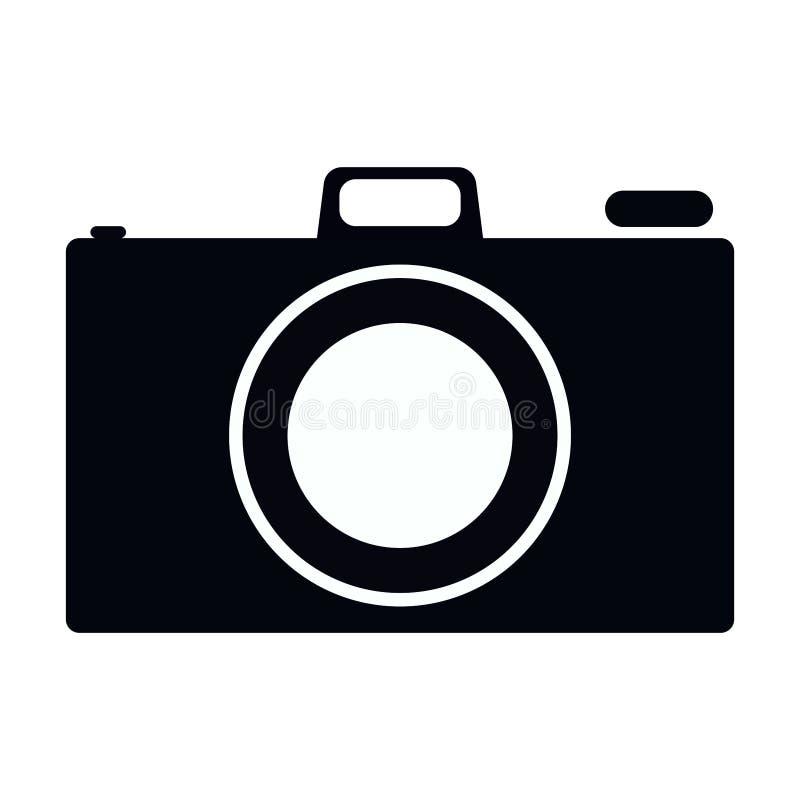 Einfaches, flaches, Schwarzweiss-Kameraikonenschattenbild Lokalisiert auf Weiß lizenzfreie abbildung