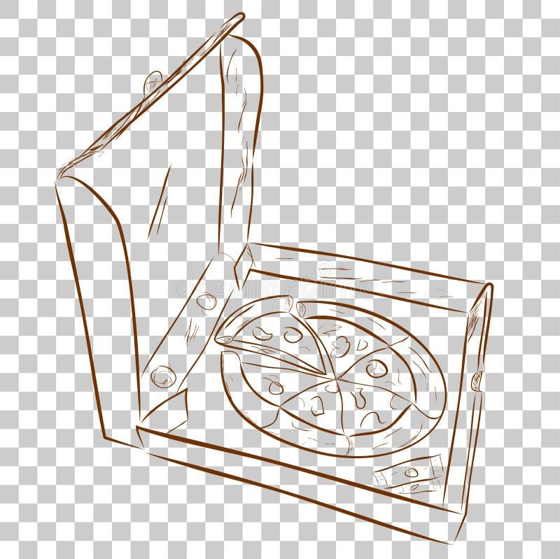 Einfaches Gekritzel der Pizza in der Pappe, an transparentem Effekt Hintergrund lizenzfreie abbildung
