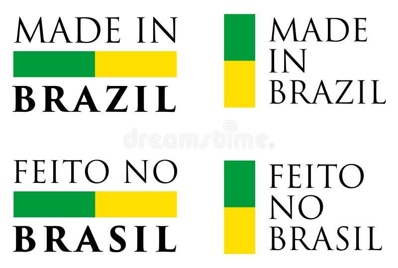 Einfaches gemacht in Brasilien/in Feito keine Brasilien-Portugieseübersetzung lizenzfreie abbildung