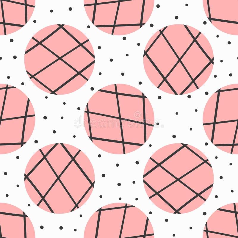 Einfaches geometrisches nahtloses Muster Tupfen und Kreise mit den Linien eigenhändig gezeichnet vektor abbildung