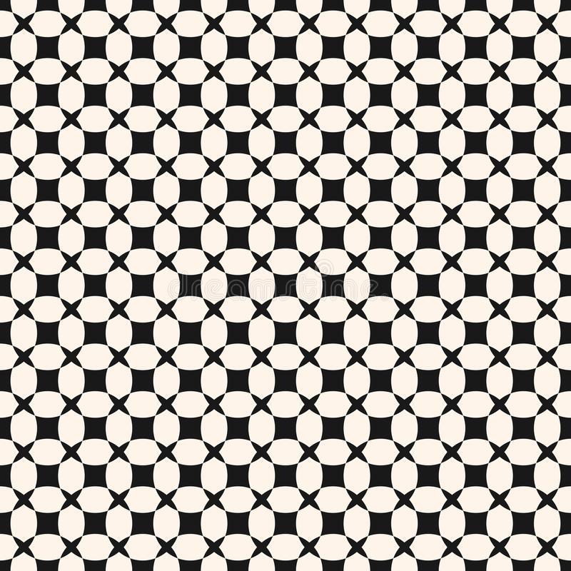 Einfaches geometrisches nahtloses Schwarzweiss-Muster mit Gitter, Gitter, Netz vektor abbildung