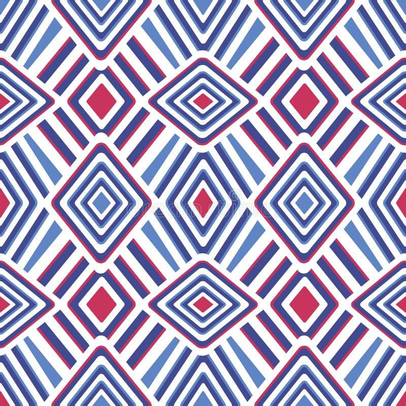Einfaches geometrisches nahtloses Vektormuster backgound Blaue, rote und wei?e gestreifte Beschaffenheit f?r Gewebe, Tapete vektor abbildung