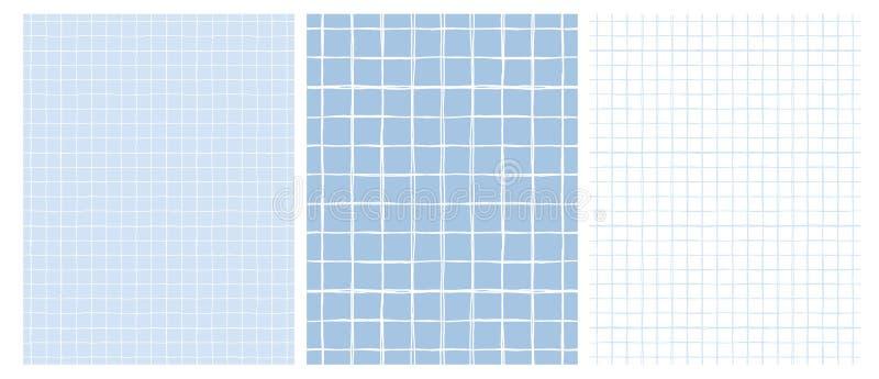 Einfaches geometrisches Vektor-Muster mit hellem Gray Grid auf einem weißen Hintergrund und einem weißen Gitter auf einem blauen  lizenzfreie abbildung
