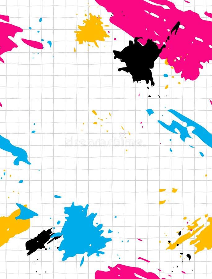 Einfaches geometrisches Vektor-Muster mit hellem Gray Grid und Rosa-, Blauem, Schwarzem und Gelbemtinten-Spritzen Klare Farben lizenzfreie abbildung