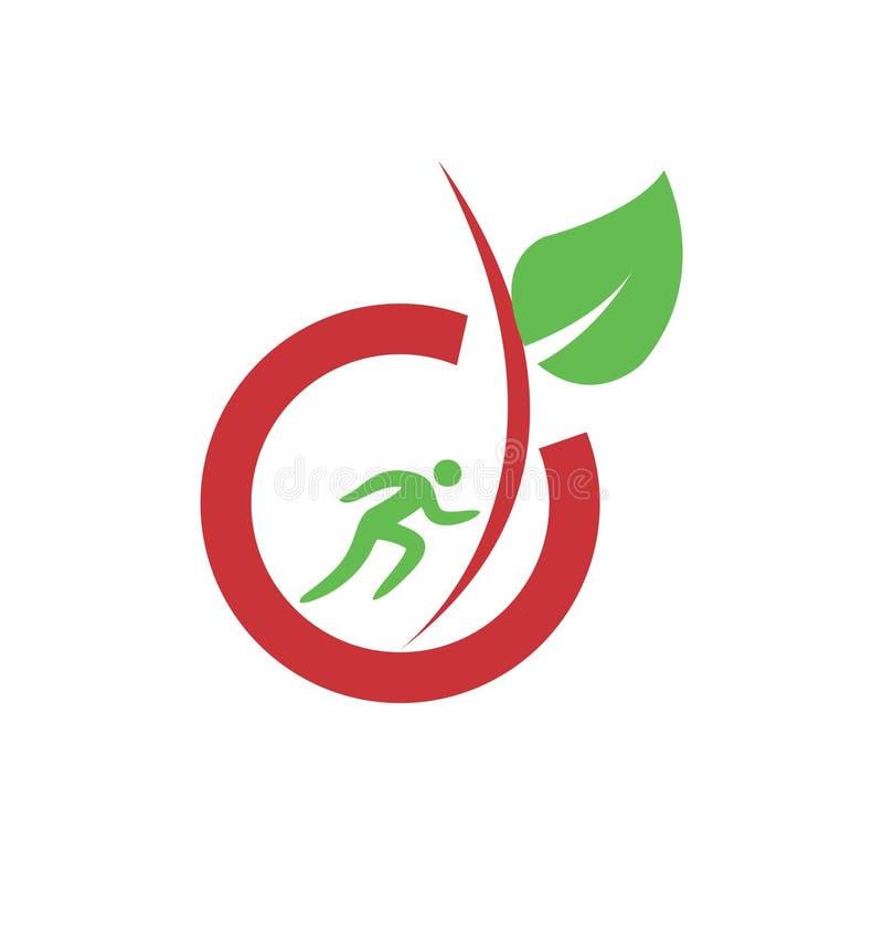 Einfaches gesundes und biologisches Lebensmittel für Sportmannlogo und Vektorikone vektor abbildung