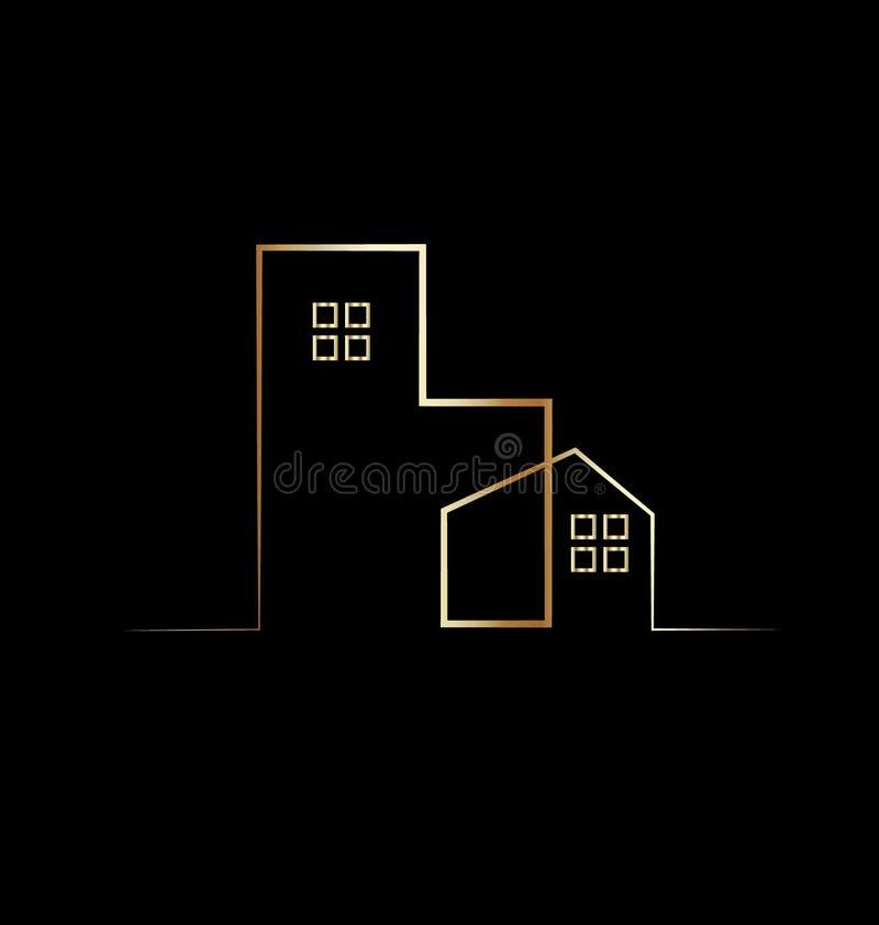 Einfaches Goldhaus- und -gebäudelogosymbol lizenzfreie abbildung